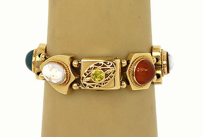 Vintage 14kt Yellow Gold Gemstone & Cameo 8 Assorted Shape Slide Charm Bracelet