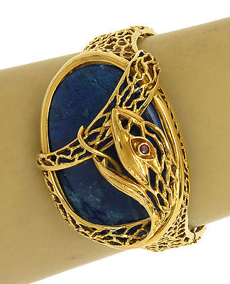 Ilias Lalaounis 18k Yellow Gold, Ruby & Blue Lapis Snake Design Bangle Bracelet
