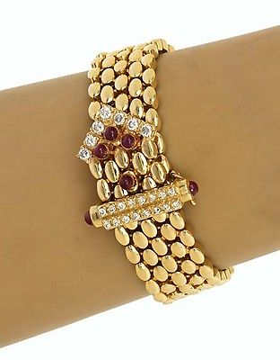 Gorgeous 14k Yellow Gold 1.90ctw Diamond & Ruby Panther Design Bracelet