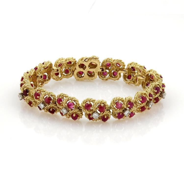 Vintage 10ct Cabochon Ruby & Diamond 18k Yellow Gold Fancy Floral Bracelet