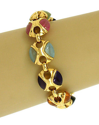 Elegant 60ct Multi-Color Gemstones 18k Yellow Gold Fancy Design Bracelet