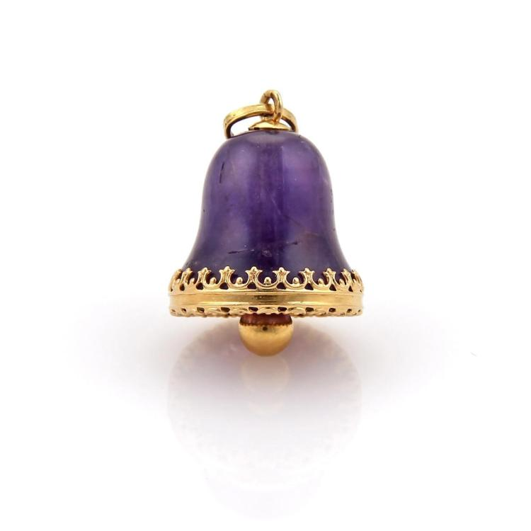 Estate 30ct Carved Amethyst Bell Charm Pendant in 14k Yellow Gold