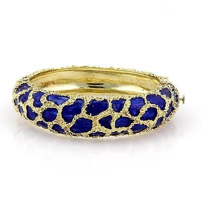 Estate 18kt Yellow Gold Cobalt Blue Enamel Fancy Design Bangle Bracelet