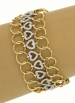 Vintage 14k Two Tone Gold 4ctw Diamond Heart Wide Chain Link Bracelet