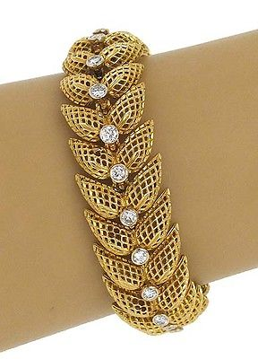 Vintage 18k Yellow Gold 1.6ctw Diamond Double Leaf Link Open Design Bracelet