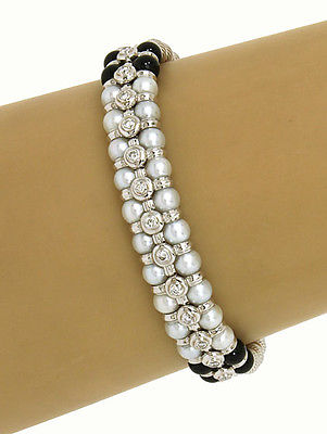 Zancar 18k White Gold .65ctw Diamond, Pearls & Onyx Beaded Designers Bracelet