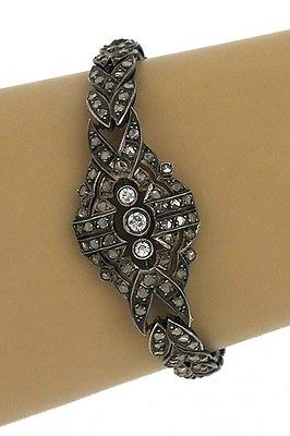 Antique Victorian Silver 3.0ctw Rose & European Cut Diamond Open Design Bracelet