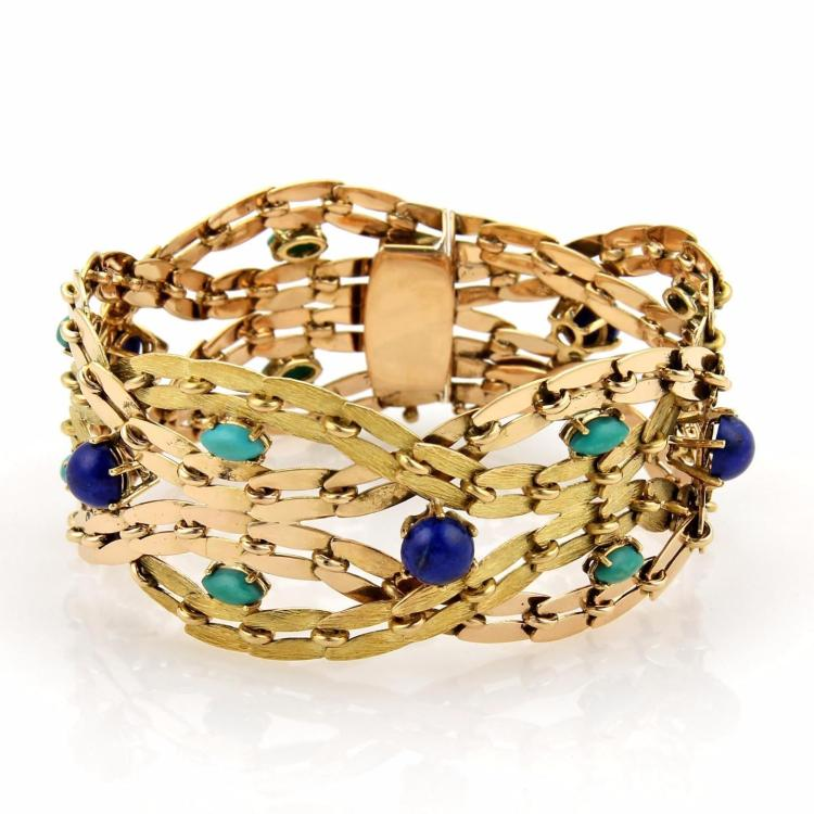 Estate Lapis & Turquoise 18k Yellow Gold 1.25