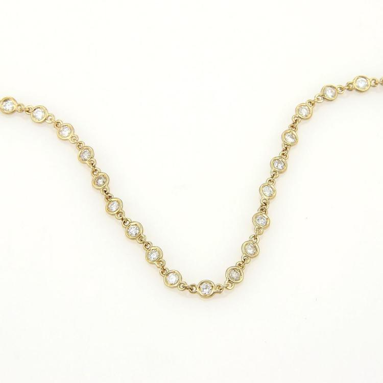 NEW 3.70ct Diamond By The Yard Eternity Necklace in 14k Yellow Gold 24
