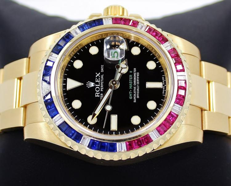 Rolex GMT Master II 116718 18k Yellow Gold PEPSI Diamonds/Rubies/Sapphires Bezel