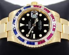 Rolex GMT Master II 116718 18k Yellow Gold PEPSI Diamonds/Rubies/Sapphires Bezel
