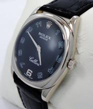 ROLEX CELLINI DANAOS 18K WHITE GOLD BLACK DIAL LEATHER BAND BOX & PAPERS 4233