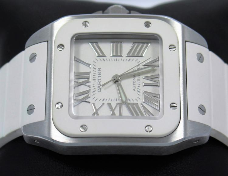 Cartier Santos 100 2878 W20129U 32mm Automatic Steel White Rubber MINT CONDITION
