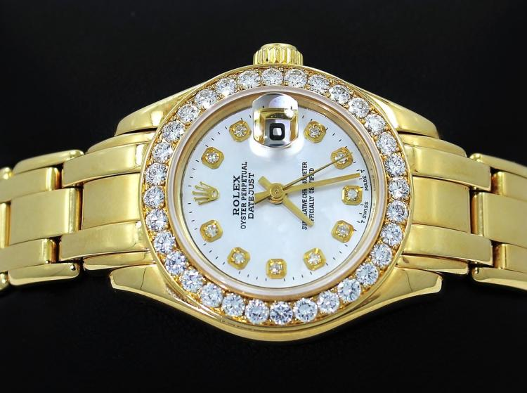 ROLEX MASTERPIECE 69298 18K YELLOW GOLD MOP DIAL FACTORY DIAMOND BEZEL LADIES