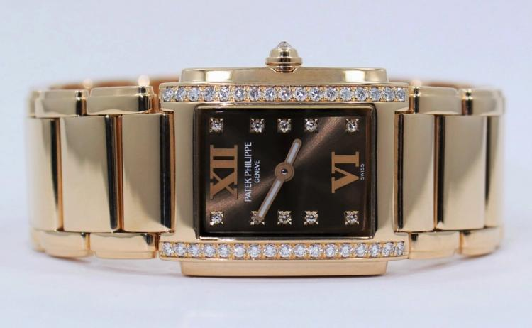 Patek Philippe Twenty 4 Diamond 18k Rose Gold Chocolate Ladies Watch 4908/11R