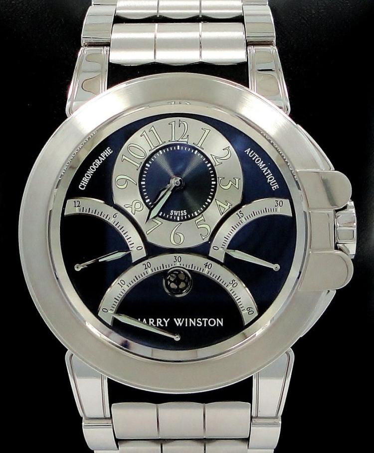 Harry Winston Retrograde Ocean 18K White Gold BOX & PAPERS 400-MCRA44W MSRP-80K