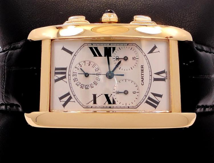 CARTIER TANK AMERICAN JUMBO 18K YELLOW GOLD CHRONOREFLEX ON BLACK LEATHER 1730
