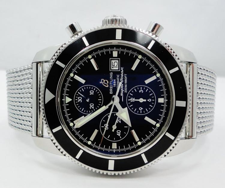 BREITLING CHRONOGRAPH SUPEROCEAN HERITAGE BLACK 46MM MEN'S BOX & PAPERS A13320