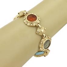 Vintage Multi-Color Intaglia Gems & 14k Yellow Gold Round Links Bracelet