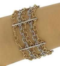 14k Yellow & White Gold Multi-Strand Beaded Fancy Design Wide Bracelet