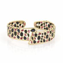 12ct Sapphire & Ruby 18k Yellow Gold Wide Open Design Cuff Bracelet
