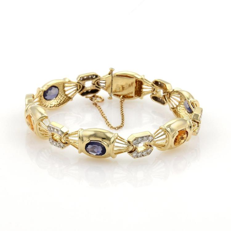 Estate 7.85ct Diamonds Iolite & Citrine 14k Yellow Gold Fancy Link Bracelet