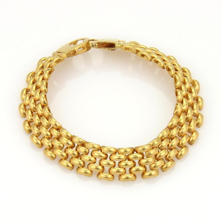 Elegant 22k Yellow Gold 11mm Wide Panther 5 rows Link Wide Bracelet