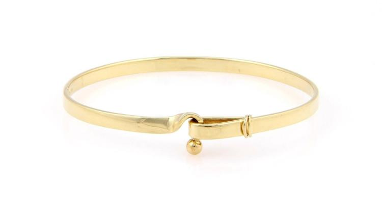 Tiffany & Co. 18K Yellow Gold Hook & Loop Bangle Bracelet