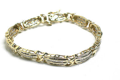 Vintage Retro 10kt Yellow gold 2.5ct Baguette Cut Diamond Tennis Bracelet