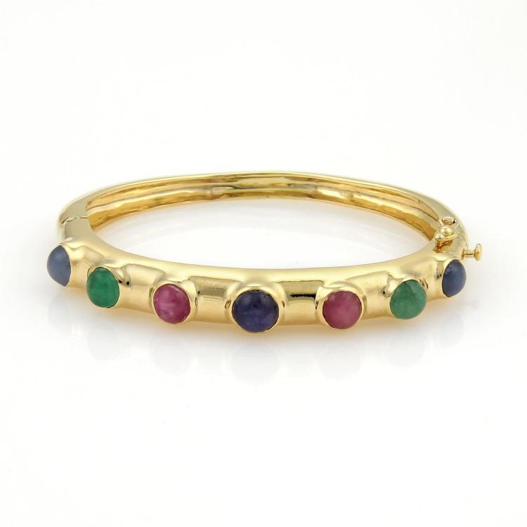 Vintage 4ct Cabochon Emeralds Sapphires & Rubies 18k Yellow Gold Bangle Bracelet