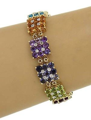 14k Two Tone Gold 24.60ctw Diamond & Multi-Color Gemstone Fancy Design Bracelet