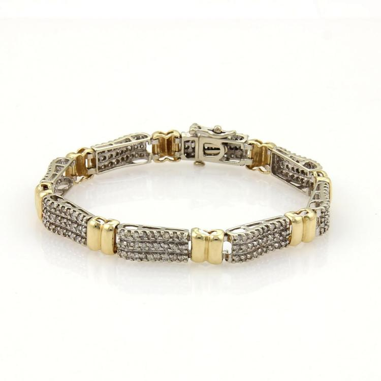 Estate 3ct Diamonds 14k Two Tone Gold Ribbon Link Bracelet 7