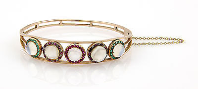 Victorian 14K YG Moonstone Cabochon Diamond Ruby & Emerald Bangle Bracelet