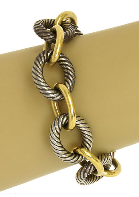 David Yurman 18k YGold & Sterling Silver Cable Wire Bracelet