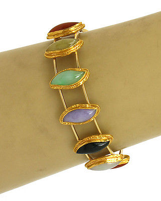 Vintage 18k Yellow Gold Multi-Color Jade Ladies Bangle Bracelet