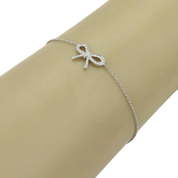 Tiffany & Co. Diamond & Platinum Bow Charm Chain Link Bracelet