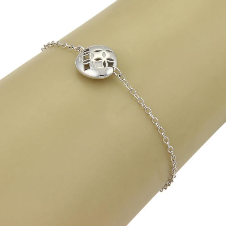 Louis Vuitton Monogram Gallea Round Charm 18k WGold Chain Bracelet w/Cert.