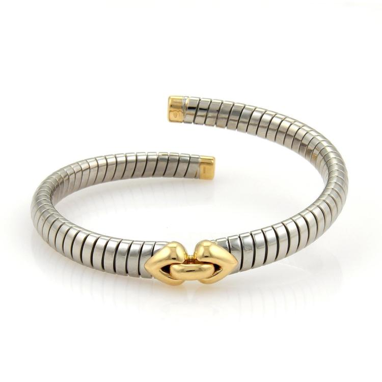 Bvlgari Bulgari Steel & 18K Yellow Gold Tubogas Heart Open Flex Bracelet