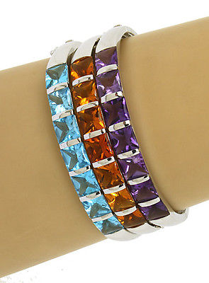10kt White Gold 60ctw Princess Cut Amethyst, Blue Topaz & Citrine 3 Bracelets