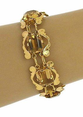 Vintage Retro Era 18kt Y/Gold 75ctw Smokey Topaz Gemstone Scroll Design Bracelet