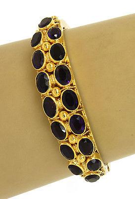 Vintage 14kt Yellow Gold 20ctw Oval Shape Amethyst Fancy Design Bracelet