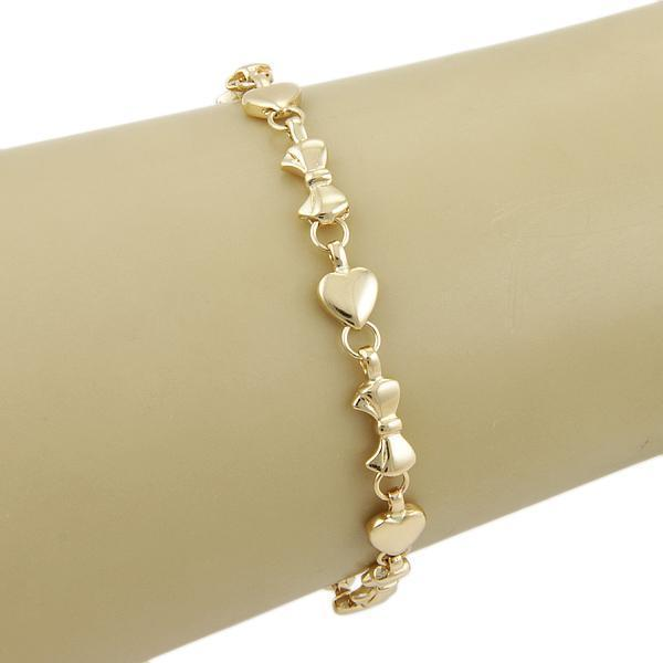 Tiffany & Co. Italy 18K Yellow Gold Heart and Bow Tie Link Bracelet 7.25