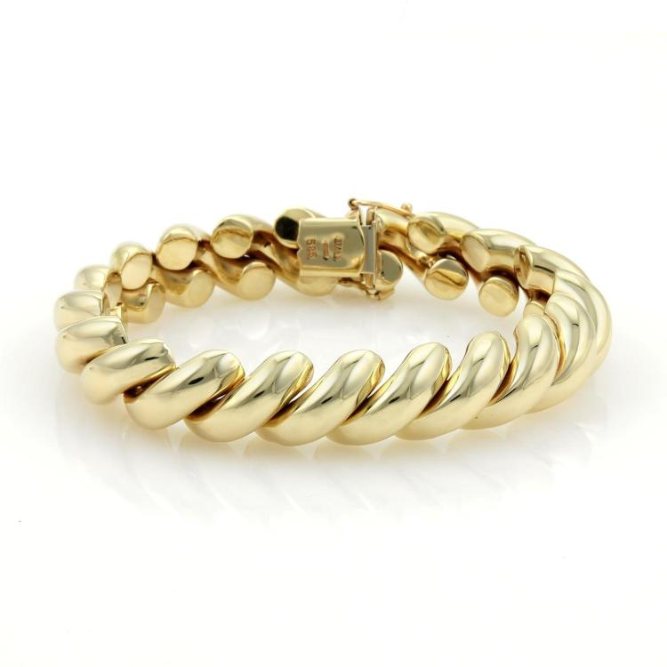14kt Yellow Gold Italy San Marco Macaroni Bracelet