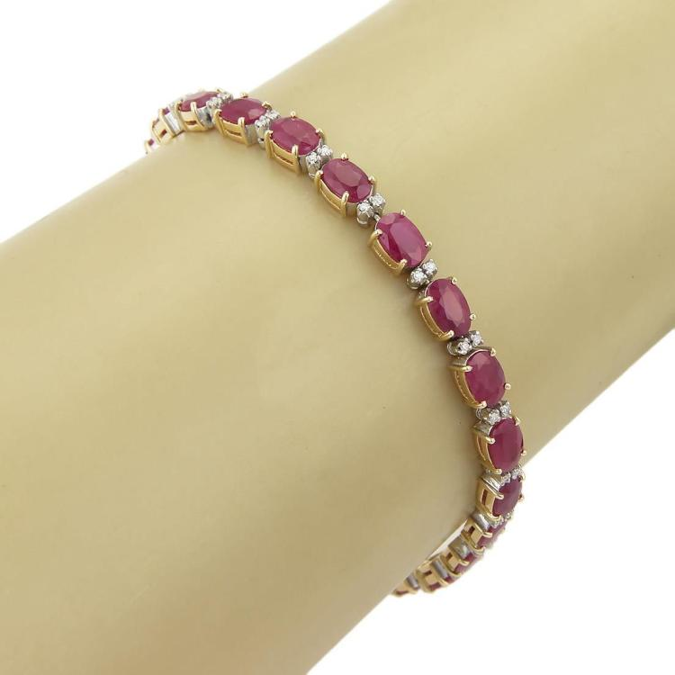 Beautiful 13ct Rubies & Diamonds 18k Two Tone Gold Tennis Bracelet