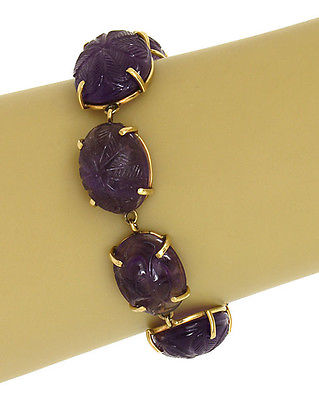Vintage 75ct Amethyst Hand Carved 14k Yellow Gold Oval Link Bracelet