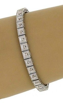 Estate 18k White Gold 1.15ctw Diamond Fancy Design Tennis Bracelet 7.25