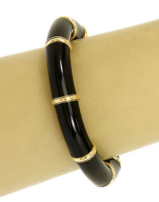 La Nouvelle Bague 18k Y/Gold Sterling Silver Black Enamel Flex Bangle/Bracelet