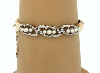 Vintage 14k Two Tone Gold 1ctw Diamond & Seed Pearl Open Design Bracelet/Bangle