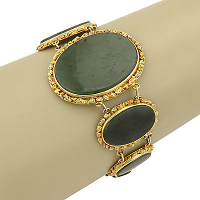 Estate 14k & 10K Yellow Gold Circular Jade Link Bracelet