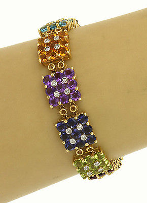 Magnificent 14k Two Tone Gold 26.50ctw Diamond & Multi-Color Gemstone Bracelet
